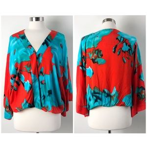 On the Road | Coral Red Floral Kimono Top